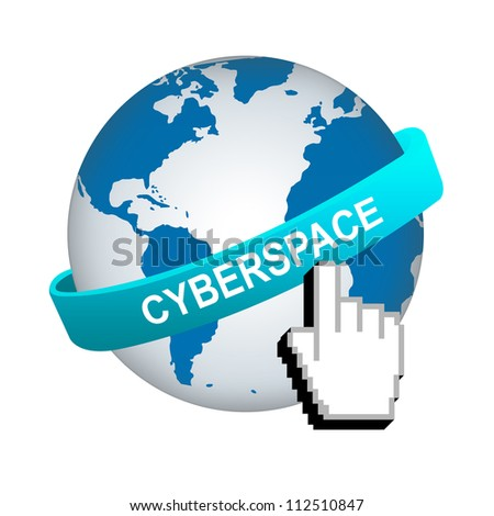 Blue Cyberspace Band Around The World With Hand Cursor Isolated on White Background For Internet and Online Concept - stock photo