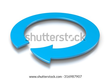 Blue Cyclic Arrow 3D Illustration on White Background, Protection Concept - stock photo