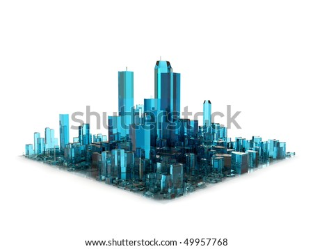 blue 3D city made of glass - stock photo