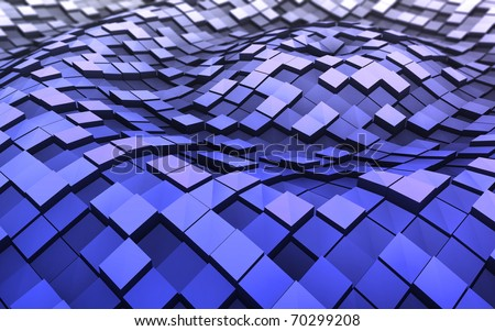 Blue 3d cubes in the waves - stock photo