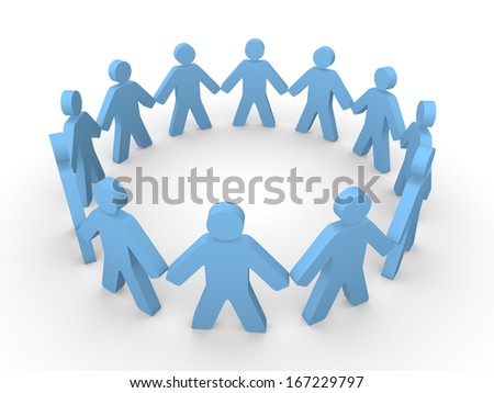 Blue 3d people standing in the circle - stock photo