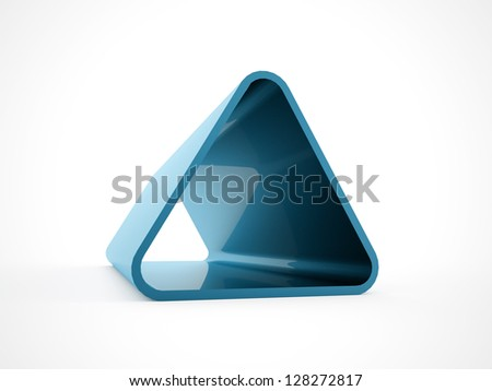 Blue 3D triangle isolated on white background - stock photo