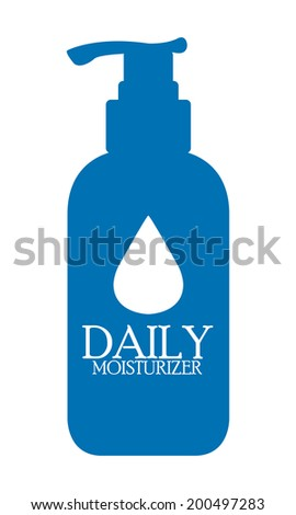 Blue Daily Moisturizer Lotion Bottle Icon or Label Isolated on White Background - stock photo