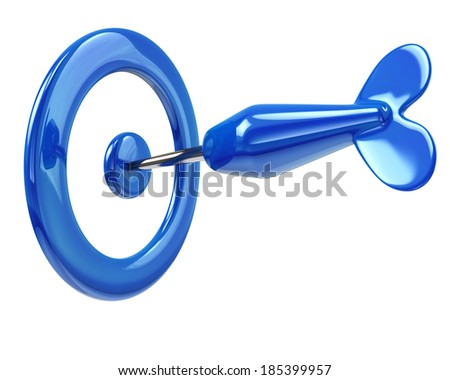 Blue dart in target - stock photo