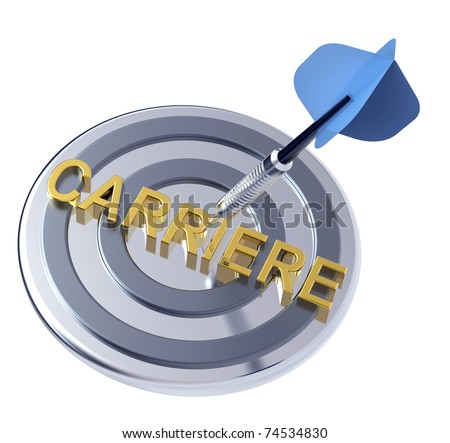 Blue dart on a target with gold text on it. Concept for job recruitment or career. Computer generated 3D photo rendering. - stock photo
