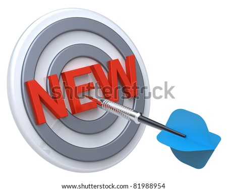 Blue dart on a target with text on it. The concept of new product. Computer generated 3D photo rendering. - stock photo