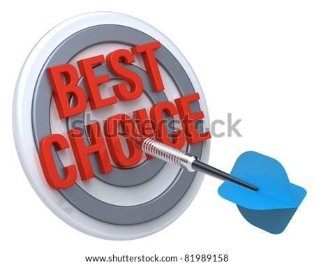 Blue dart on a target with text on it. The concept of selecting a good product. Computer generated 3D photo rendering. - stock photo