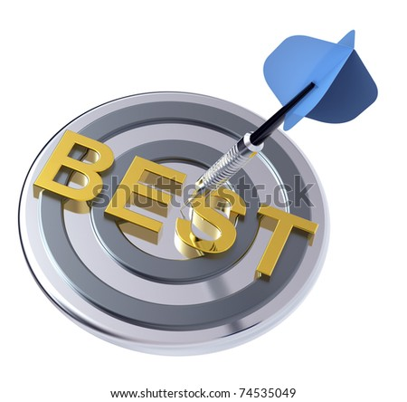 Blue dart on the target with best text on it. Computer generated 3D photo rendering. - stock photo