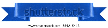 Blue, decorative ribbon banner with a classic pleated style. Photographed on a white background. An attractive design element for web pages and brochures. - stock photo