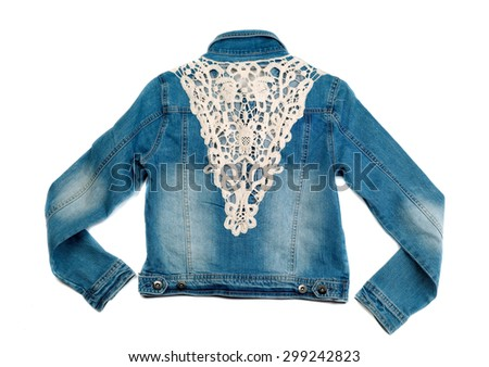 Blue denim jacket with lace. View from the back. Isolate on white. - stock photo