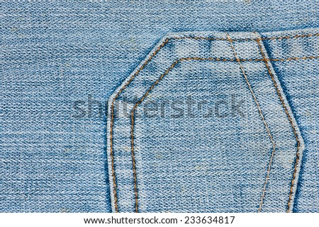 Blue Denim Jeans Pocket Close Up Details - stock photo