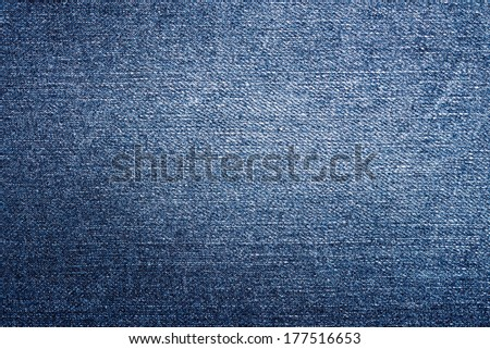Blue Denim Jeans Texture Close Up Details - stock photo