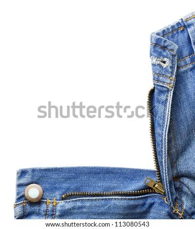 Blue denim jeans zipper. - stock photo