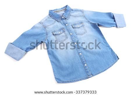 Blue denim shirt isolated on white background - stock photo
