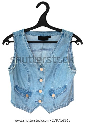 Blue denim vest isolated on a white background. Clipping path included. - stock photo