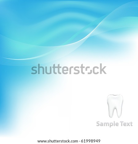 Blue Dental Background With Tooth - stock photo