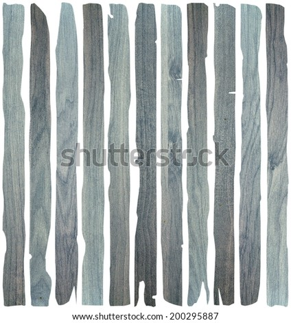 blue destroyed wooden planks isolated over white background - stock photo
