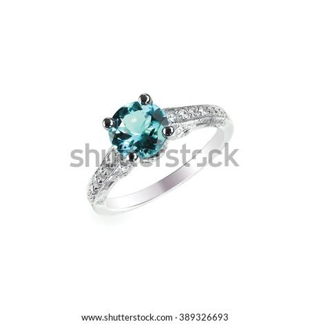 Blue Diamond engagement wedding ring colored diamond stone isolated on white - stock photo