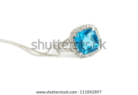 blue diamond necklace closeup - stock photo