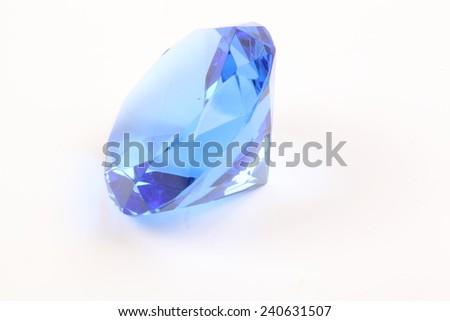 Blue diamond on a white background - stock photo