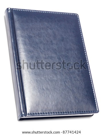 blue diary isolated on white - stock photo