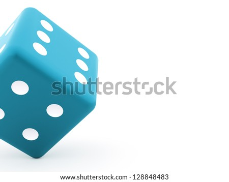 Blue dice on white background - stock photo