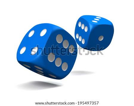 blue dice, thrown on a white background - stock photo