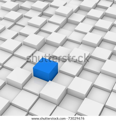 Blue Different Cube of white background - stock photo