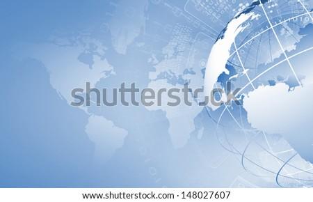 Blue digital image of globe. Background image - stock photo