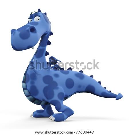 blue dino dragon baby walking - stock photo