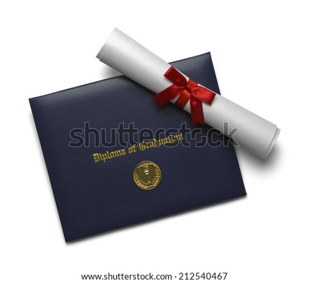 Blue Diploma of Graduation Cover with Scroll and Medal Isolated on White Background. - stock photo