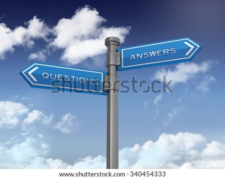 Blue Directional Sign with Questions and Answers Text on Blue Sky and Clouds Background. High Quality 3D Rendering.  - stock photo