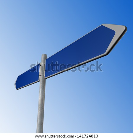BLue directional signs on a blue background - stock photo