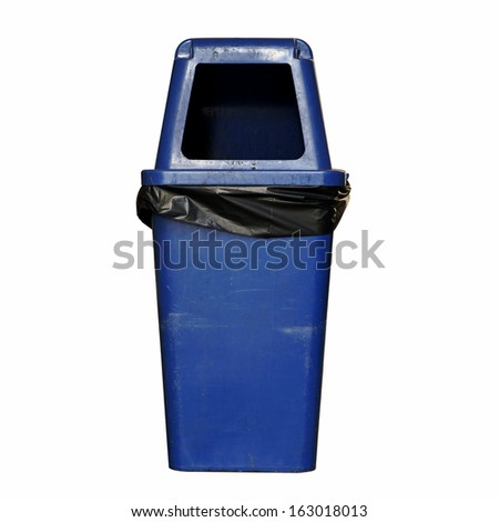 Blue dirty garbage bin isolated over white background - stock photo