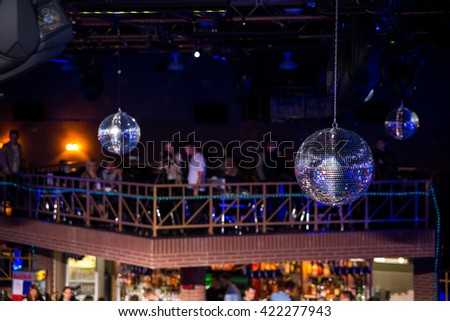 Blue disco background with mirror balls and lights - stock photo