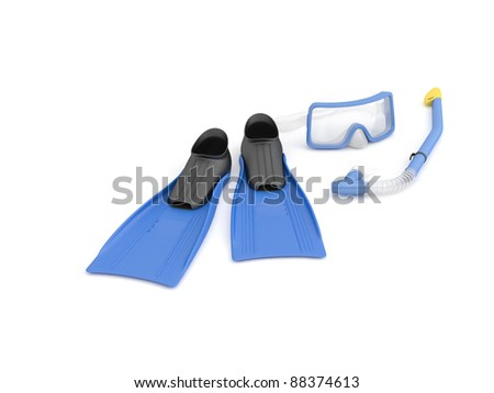 blue diving set, isolated on white - stock photo