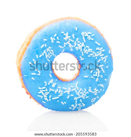 Blue donut on white background - stock photo