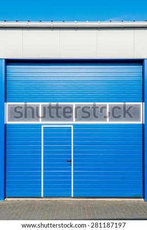blue door of new business unit - stock photo