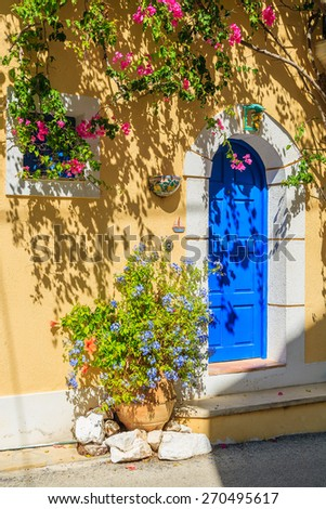 Blue door of typical Greek house, Kefalonia island, Greece - stock photo