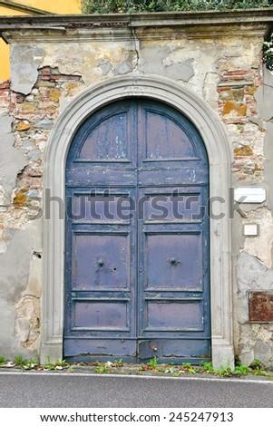 blue double front door - stock photo