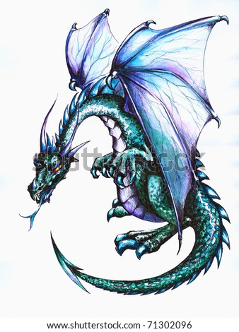 Blue dragon.Picture I have created with pen and colored pencils - stock photo