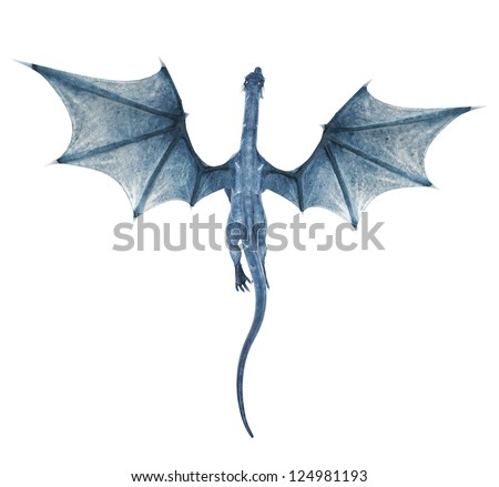 blue dragon up view - stock photo