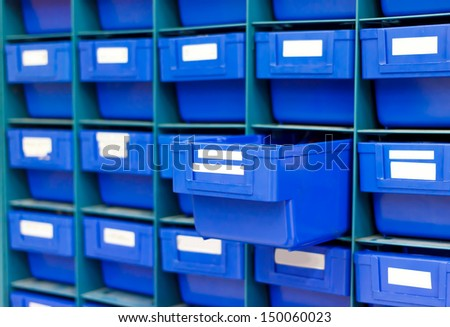 Blue drawer for keep equipment - stock photo