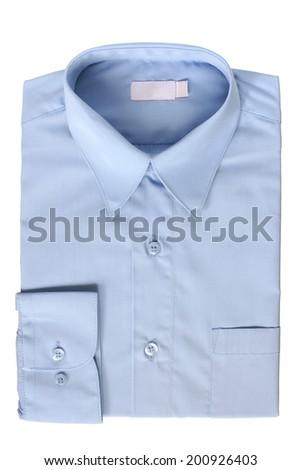 Blue dress shirt isolated on white background  - stock photo