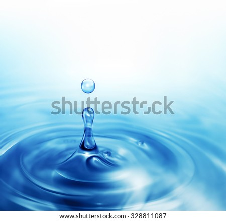 blue dripping water close up as natural background - stock photo