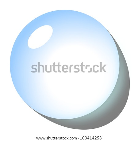 Blue drop icon with shadow on white background illustration - stock photo