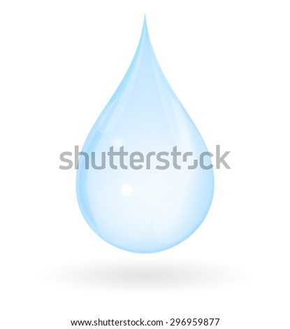 Blue drop of water with shadow isolated on a white background. Represents pure, fresh, natural and innocent. - stock photo