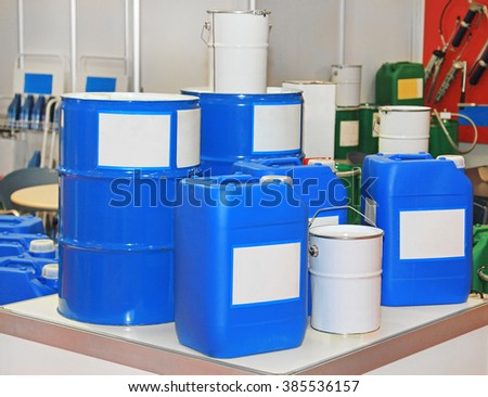 Blue Drums and Barrels For Chemical Substances and Materials - stock photo