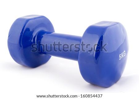 Blue dumbbell isolated - stock photo