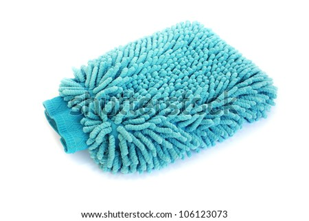 Blue duster isolated on white background. - stock photo